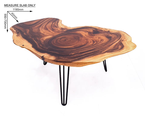 COF044- Live Edge Acacia Dark Brown Wood Coffee Table