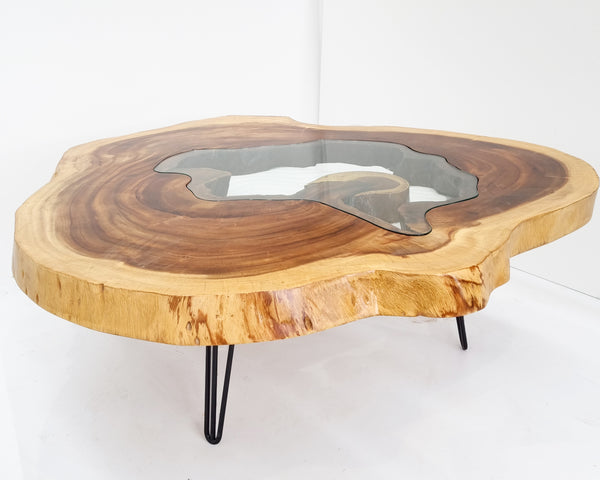 RTG002- Live Edge Conference Table with Glass Inlay