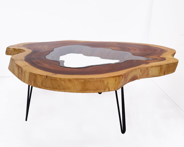 RTG007- Large Glass Inlay Live Edge Conference Table