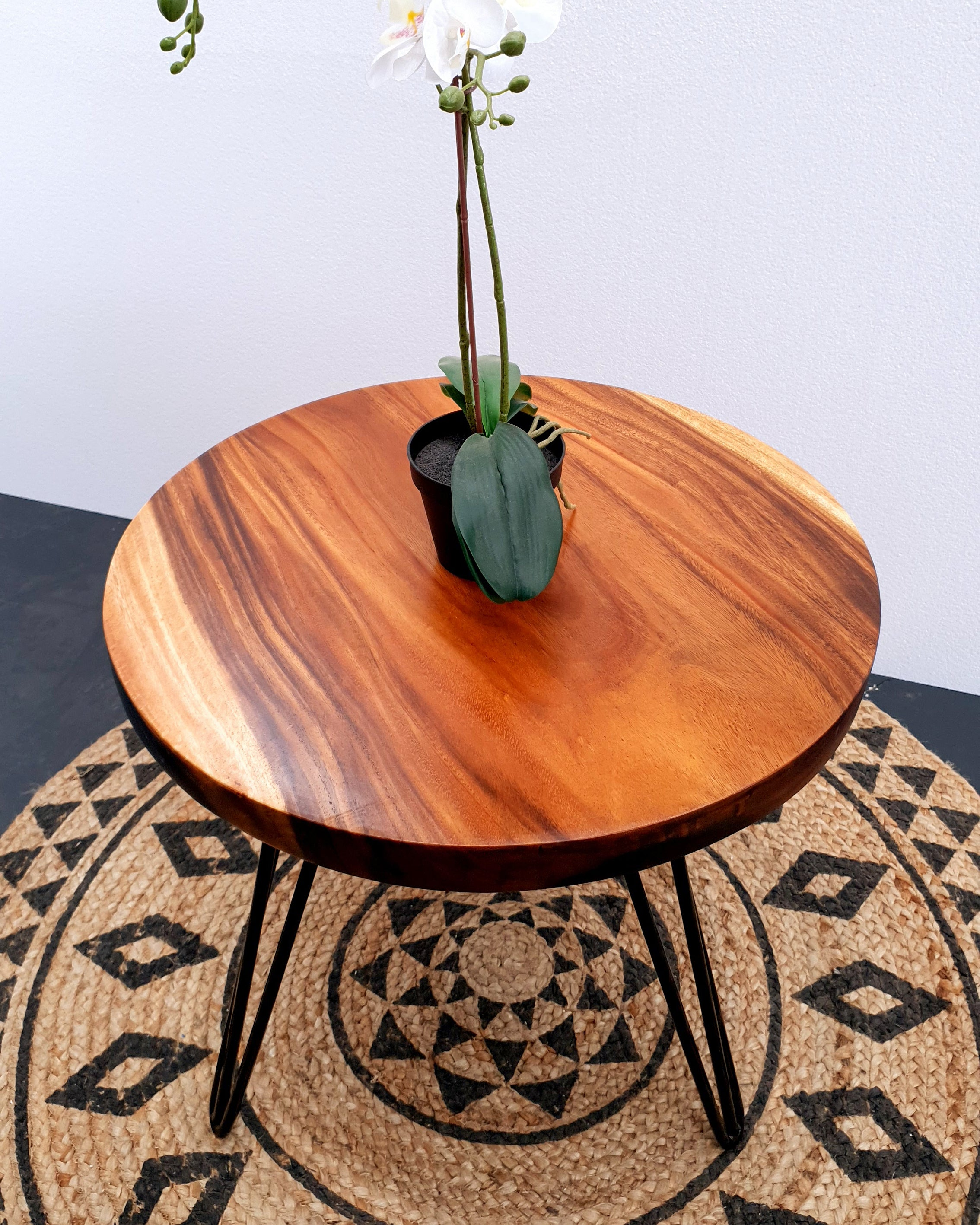 COF017- Small Light Brown Natural Acacia Round Edge Coffee/ Bar Table