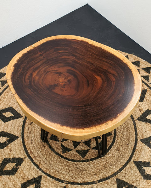 COF018- Dark Suar Wood Live Edge Round Coffee Table