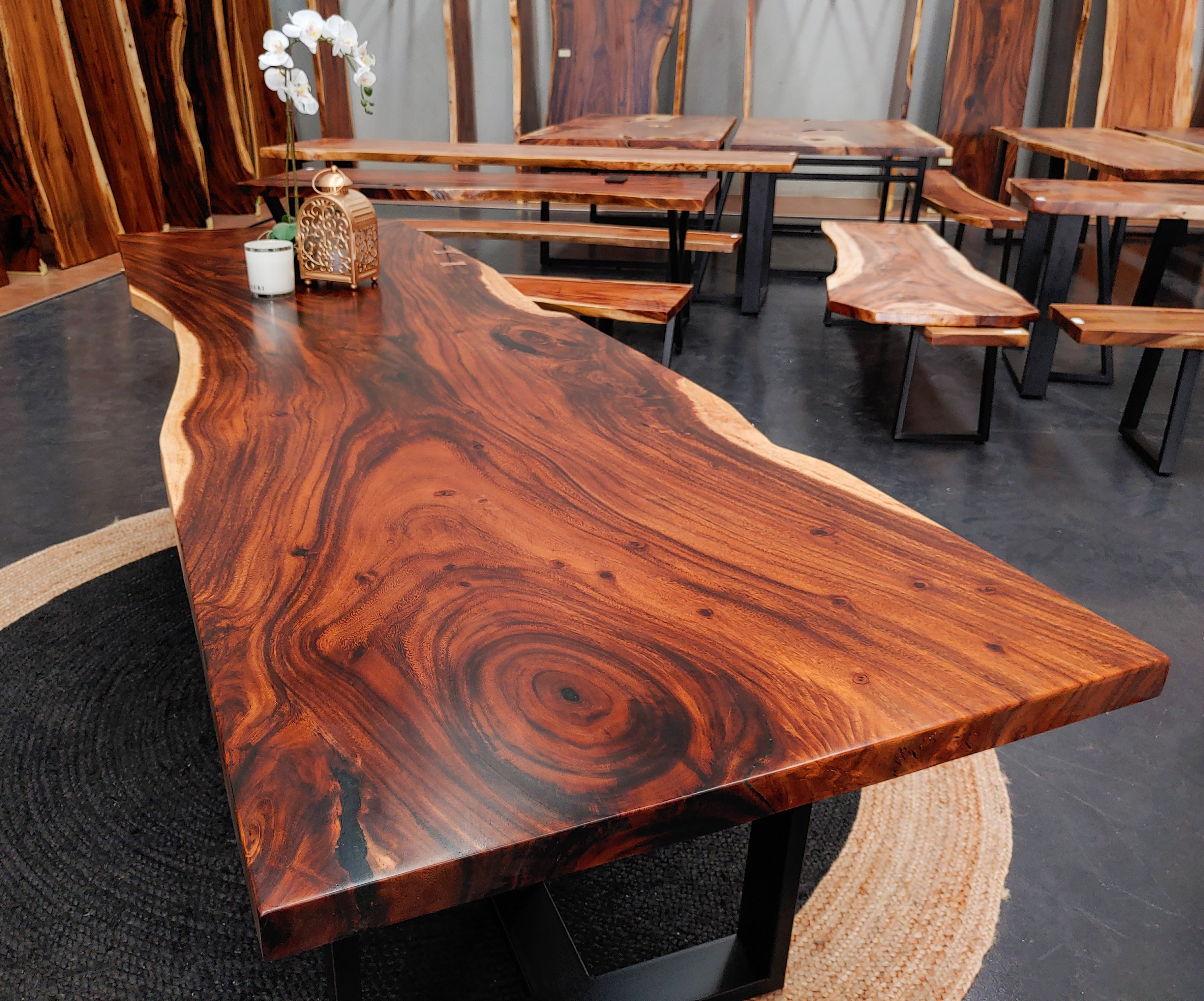 LAD018 - Dark Brown Live Edge Dining Table