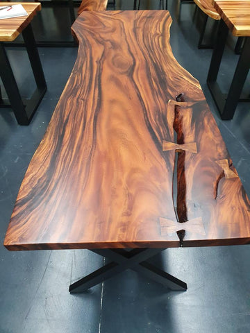 LAD008 - Dark Rain Tree Dining Table