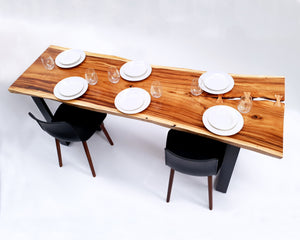 LAD032 - Monkeypod Wood River Bow Light Wood Dining Table