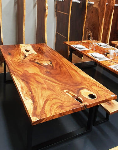 Monkeypod Wood Live Edge Hardwood Dining Table