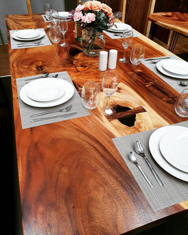 Monkeypod Wood Live Edge Solid Timber Dining Table