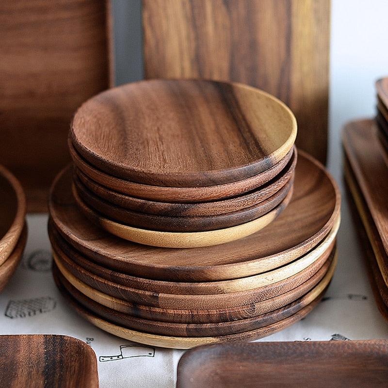 2pcs Round Wooden Plates Set High Quality Acacia Wood