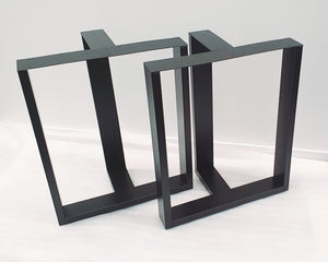 T-Shaped Framed Stainless Steel Black Desk or Dining Table Legs 710mm Height, Set of 2 (Two) Straight Legs