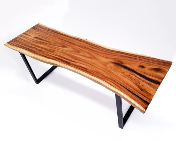 LAD035- Dark Brown Epoxy River Live Edge Dining Table