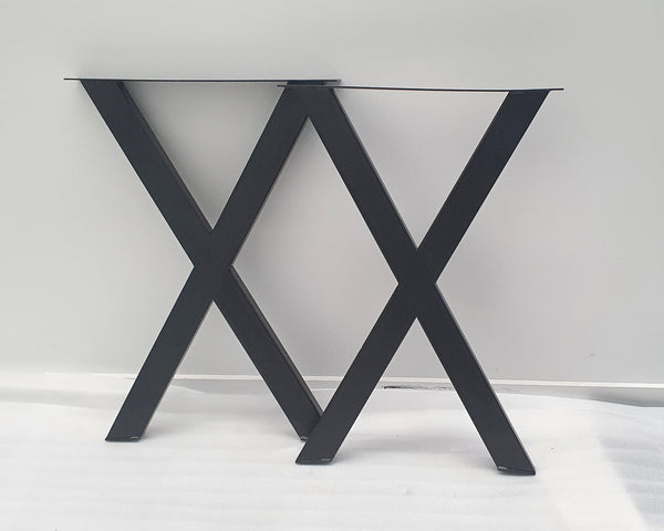 X-Shaped Stainless Steel Black Desk or Dining Table Legs 710mm Height, Set of 2 (Two)