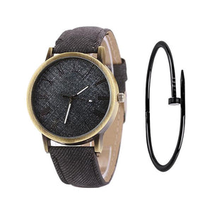 MEIBO Relojes Women Quartz Watches Denim Design Leather Strap Male Casual Wristwatch Relogio Masculino Ladies Watch female watch