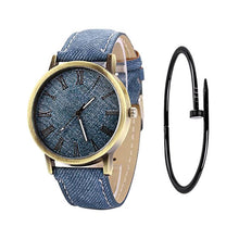 Charger l'image dans la galerie, MEIBO Relojes Women Quartz Watches Denim Design Leather Strap Male Casual Wristwatch Relogio Masculino Ladies Watch female watch
