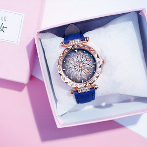 Women Starry Sky Watch Luxury Rose Gold Diamond Watches Ladies Casual Leather Band Quartz Wristwatch Female Clock zegarek damski