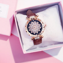 Charger l'image dans la galerie, Women Starry Sky Watch Luxury Rose Gold Diamond Watches Ladies Casual Leather Band Quartz Wristwatch Female Clock zegarek damski