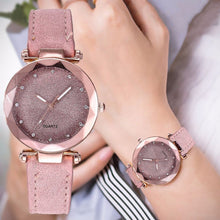 Charger l'image dans la galerie, Ladies Minimalist fashion Casual Romantic Starry Sky Wrist Watch Leather Rhinestone Ladies Strap Watch Souvenir Birthday Gifts