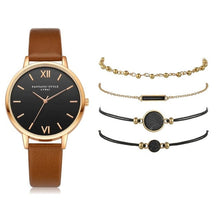 Charger l'image dans la galerie, 5pcs Set Top Style Fashion Women's Luxury Leather Band Analog Quartz WristWatch Ladies Watch Women Dress Reloj Mujer Black Clock