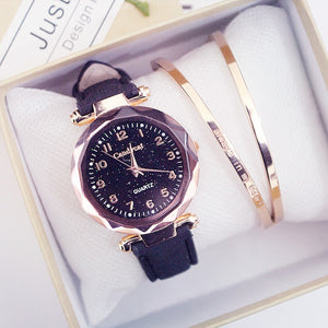 Women Fashion Watches Hot Sale Cheap Starry Sky Ladies Bracelet Watch Casual Leather Quartz Wristwatches Clock Relogio Feminino