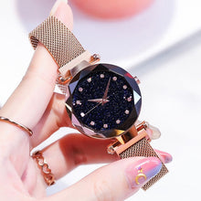 Charger l'image dans la galerie, Women Watches Rose Gold Starry Sky Luxury Magnetic Mesh Rhinestone Quartz Wristwatch Lady Female Diamond Watch relogio feminino