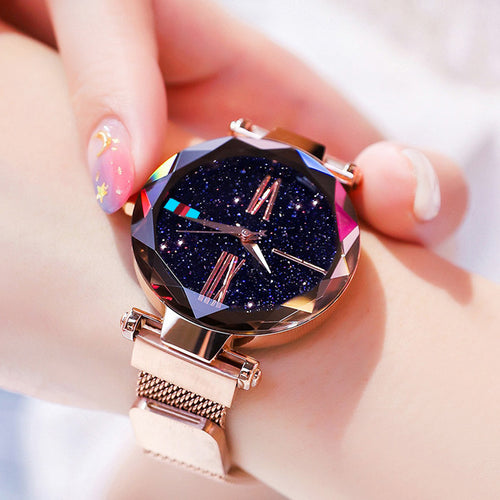 Women Watches Rose Gold Starry Sky Luxury Magnetic Mesh Rhinestone Quartz Wristwatch Lady Female Diamond Watch relogio feminino