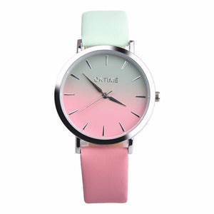 2018 Fashion WristWatch Retro Rainbow Design Women Dress Watch Quartz Leather  Watches gift for lovers Montre Relogio  #D
