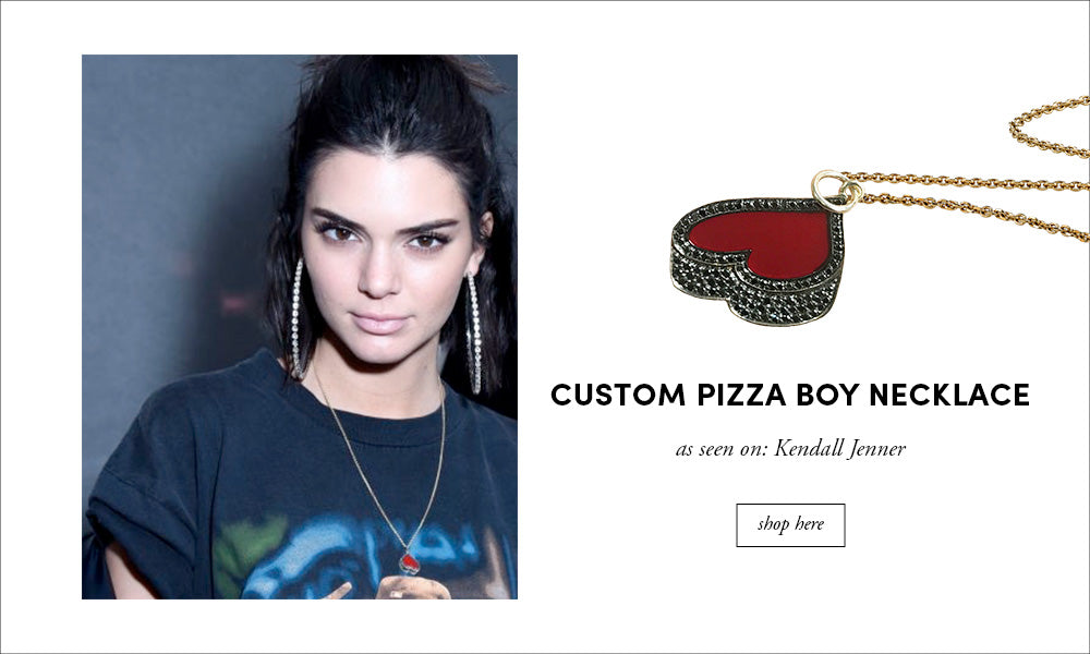 Kendall Jenner: Custom Pizza Boy Necklace
