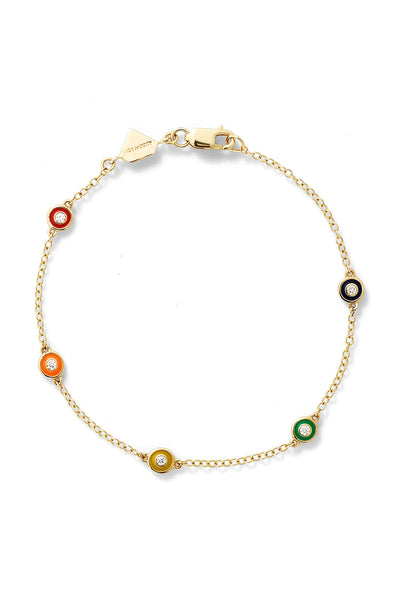 Diamond Enamel Bezel By the Yard Bracelet