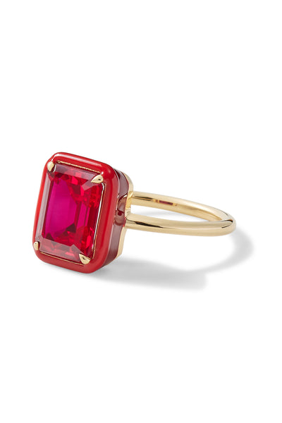 Rectangular Ruby Cocktail Ring
