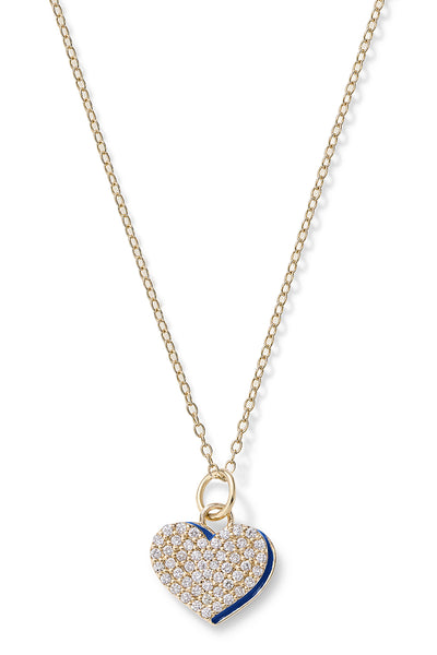 Diamond Heart with Enamel Shadow Necklace