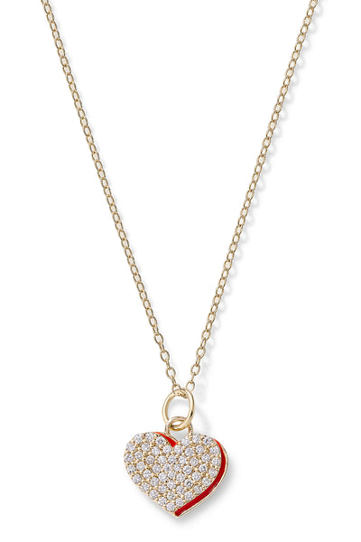 Diamond Heart with Enamel Shadow Necklace - In Stock