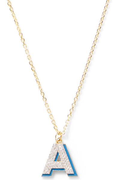 Diamond Letter with Enamel Shadow Necklace