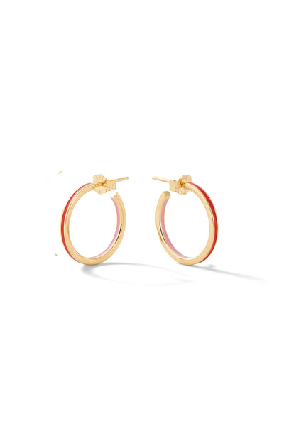 Small Double Enamel Linear Hoops