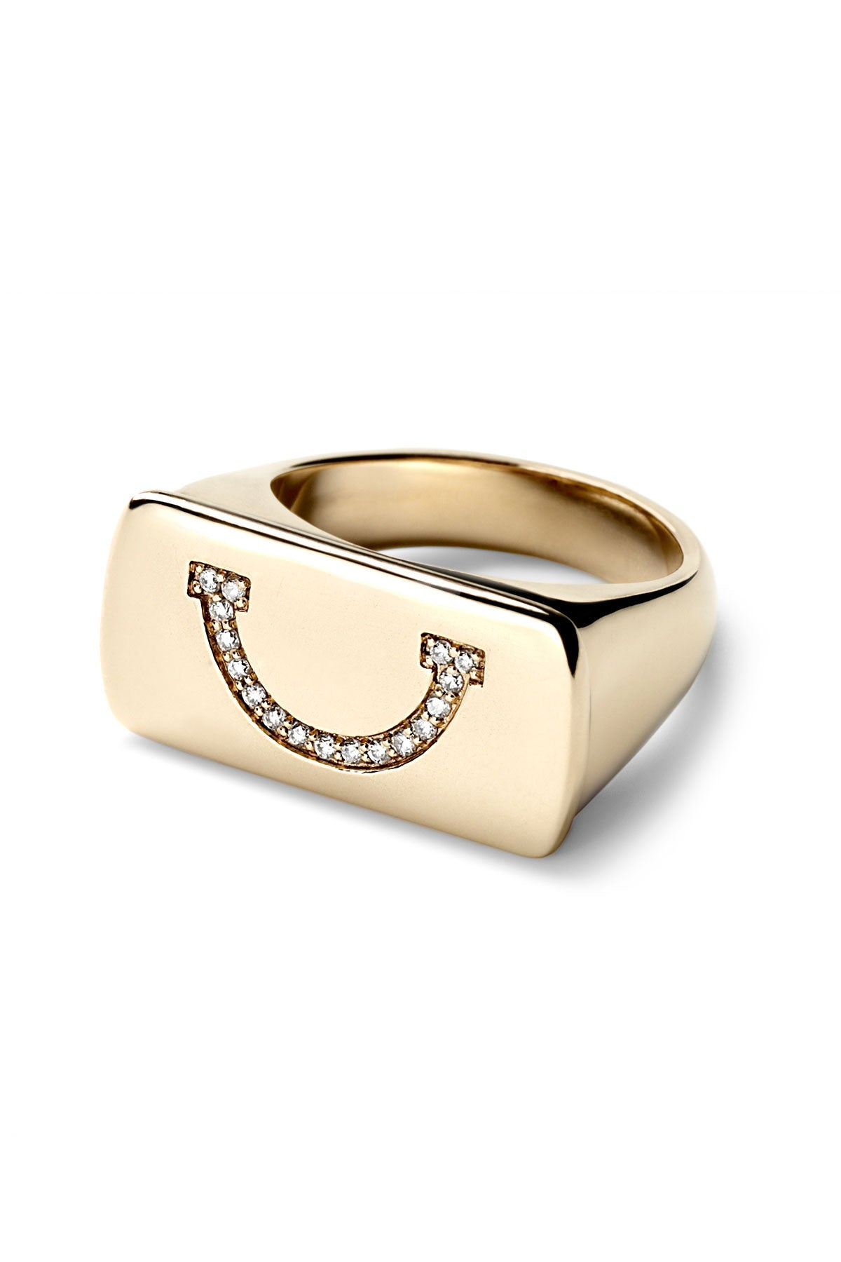 Turn That Frown Upside Down Bar Ring
