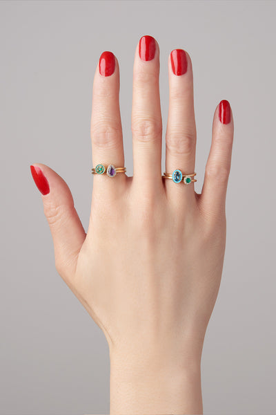 """S"" Enamel Stack Ring"