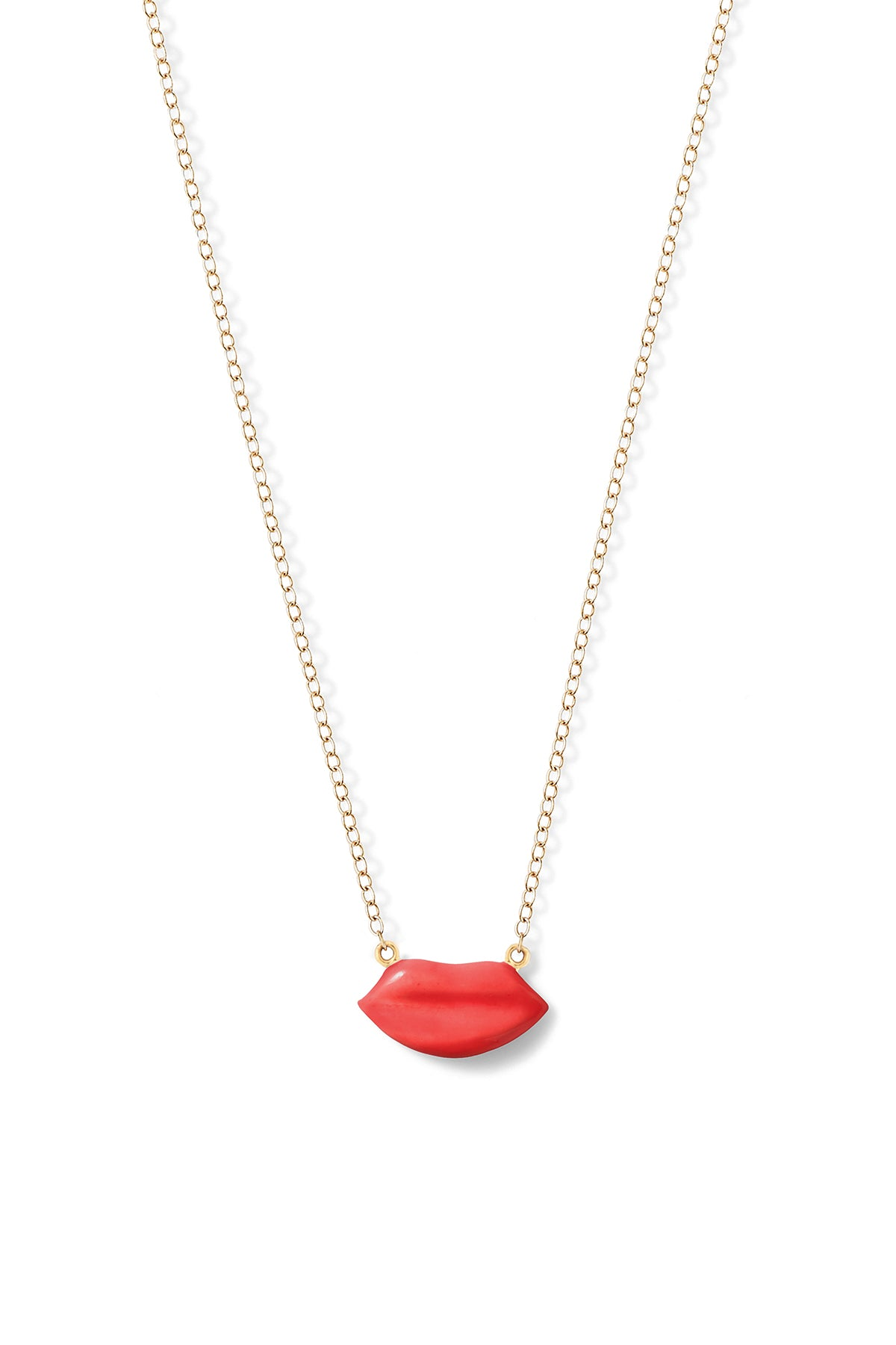 Enamel Lip Necklace - In Stock