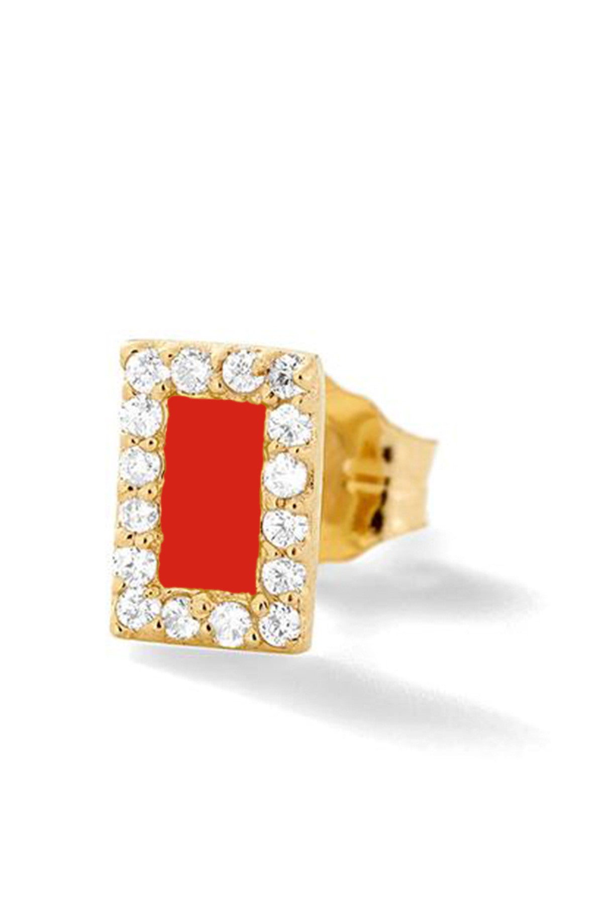 Rectangle Diamond Stud - Color Options