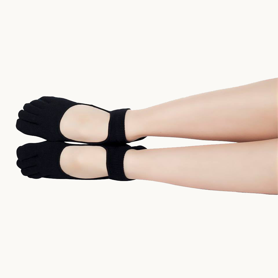 Full Toe Non-Slip Socks - Black