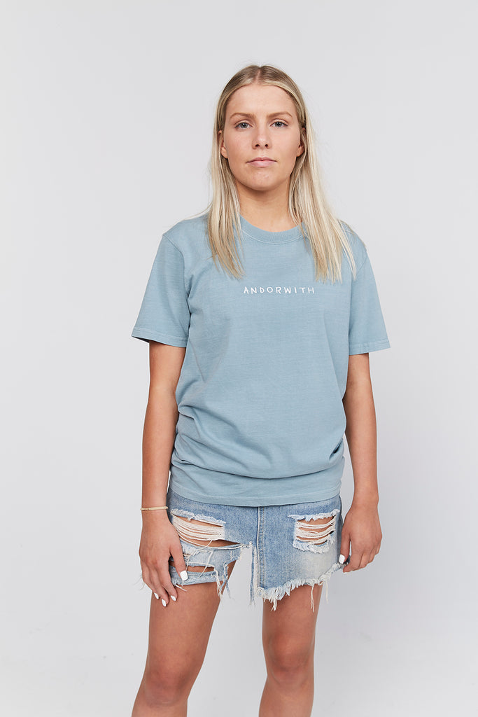 Family-Tee-Faded-Ocean-Blue-andorwith-surf-skate-wear