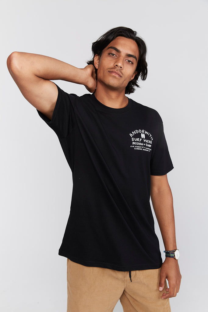 Design-Shop-Tee-Organic-Black-andorwith-surf-skate-wear