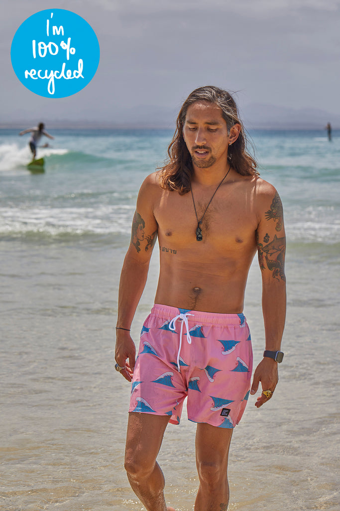 Peaks Beach Boardies Pink (100% recycled)