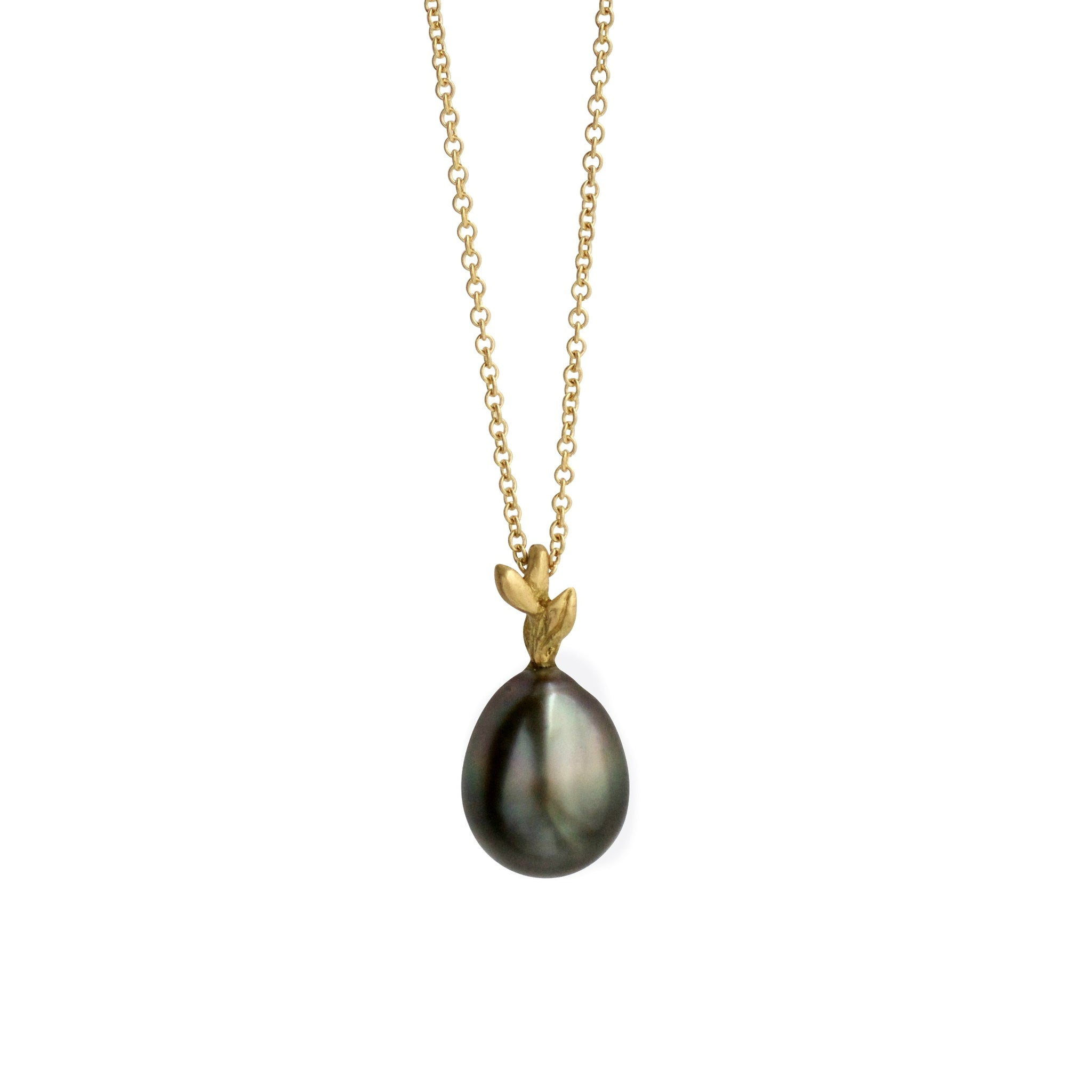 Tahitian pearl leaf drop necklace