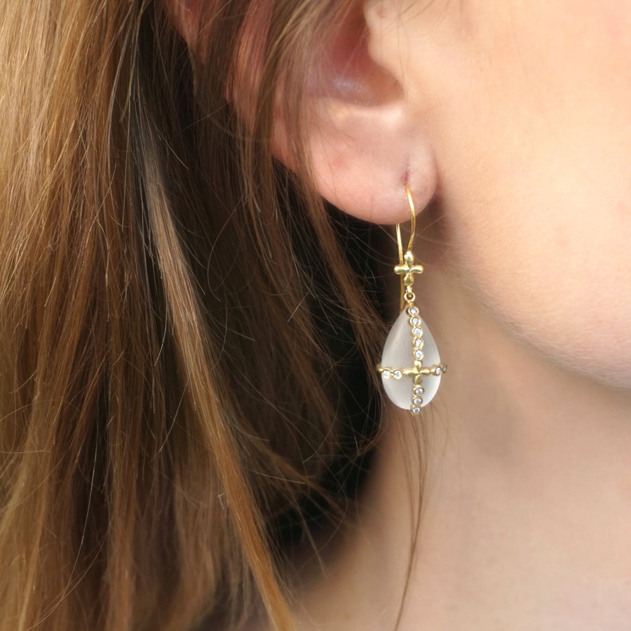 Quartz and diamond Princess Earrings