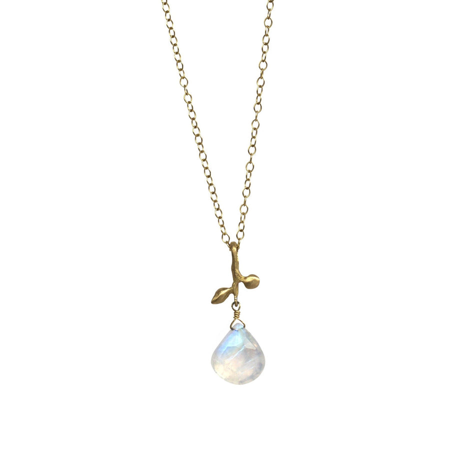Leaf + Moonstone drop necklace