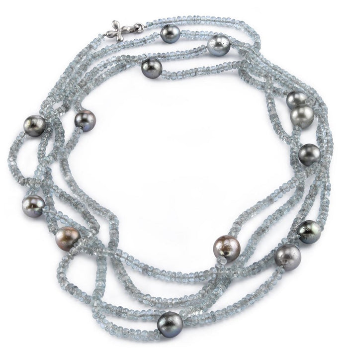 Long Tahitian Pearl wrap necklace
