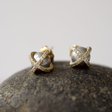 Pearl and Diamond studs- SUITS