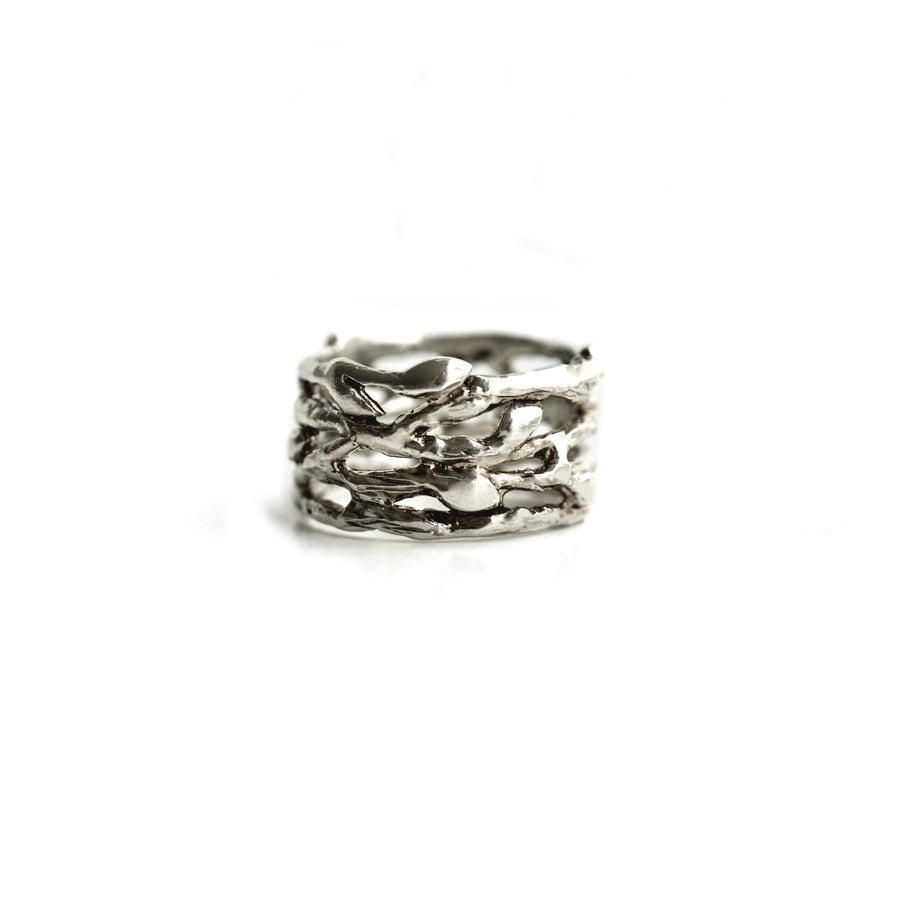 Wide Silver Leaf Ring