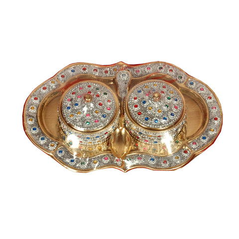 Decorative Fennel Seed Bowl & Tray Set