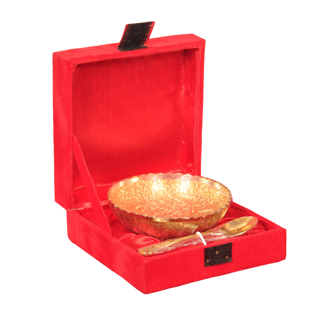 Gold Coated Bowl in Red Color Box - Item Code 164