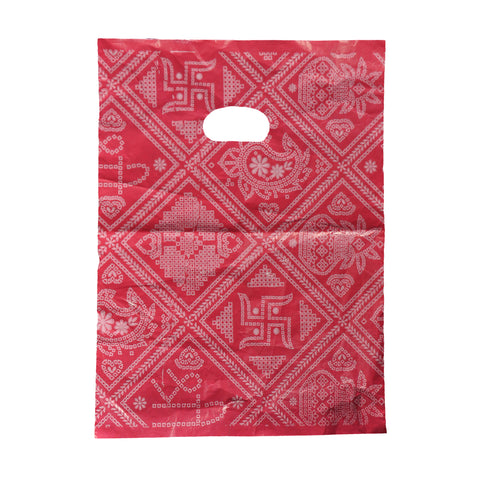 Red Color Carry Bags With Indian Design - 1 Pkt includes 10 Covers