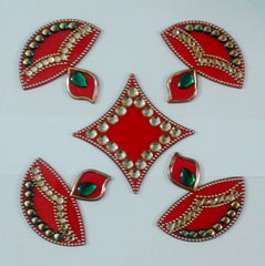 Handicraft Designer Rangoli - Jewel Stone Decorations Multi Colour 5 piece set