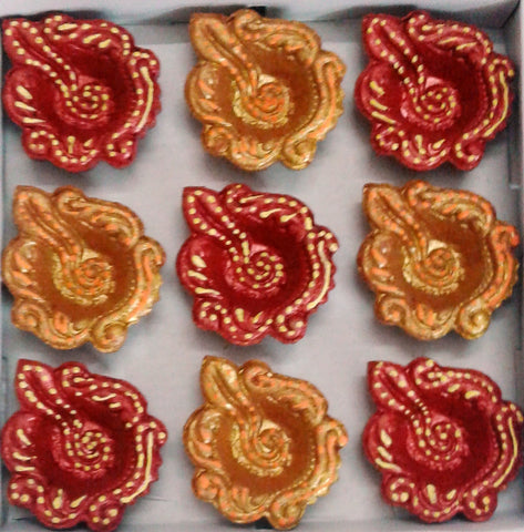 Decorative diya Set of 9 pieces handicraft clay diya